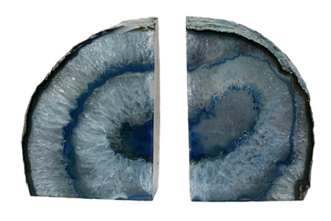 Large Teal Agate Crystal Geode Bookends