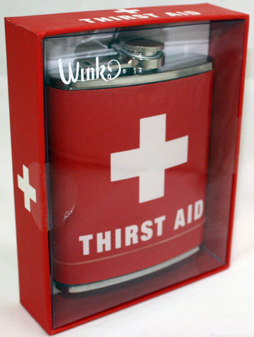 Stainless Steel Liquor Hip Flask with Red Cross & Thirst Aid Design