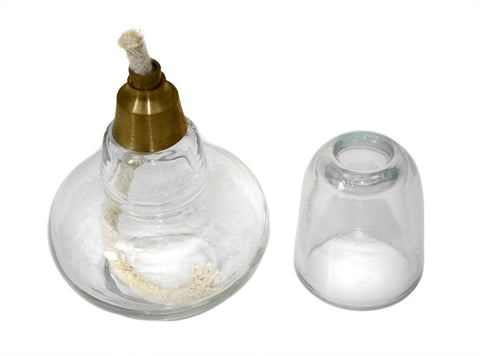 Round Glass Spirit Alcohol Burner w/Replaceable Wick