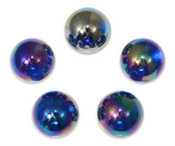 "7/8-Inch ""Iridescent Blue"" Marble 22mm Shooters - Pack of 5 w/Stands"