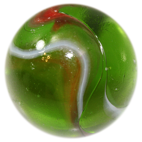 "Large 1-3/8 Inch Glass ""Jungle"" Mega Marble (35mm Boulder) with Stand"