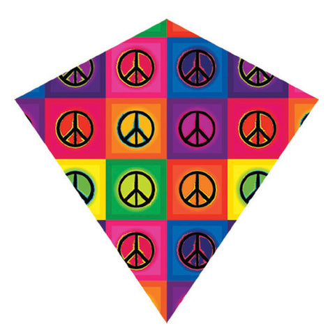 X-Kites ColorMax Nylon Multi-Colored Peace Signs Kite - 25 Inches Wide