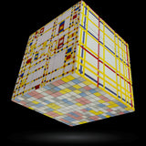 Mondrian Art Emotions V-Cube 3 Puzzle, with Flat Sides