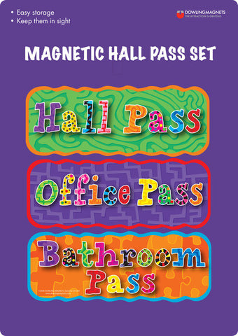 Colorful Magnetic Hall Pass Set of 3 Magnets