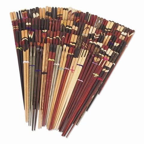 Wooden Hand Crafted Inlaid Chopsticks, 4 pair, Assorted Styles