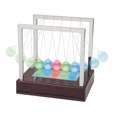 "Newton's Cradle Spectrum - LED Color Changing Science in Motion - 6"" Tall"