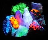 Set of 10 Medium Sized UV Reactive Fluorescent Mineral Rock Specimens