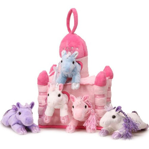 "Pony House - 11"" Pink Castle Carrying Case w/5 Plush Ponies by Unipak Designs"
