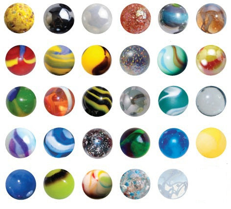 22-25mm Glass Marble Collection of 37 Different Patterns w/20 Pk Marble Display Rings