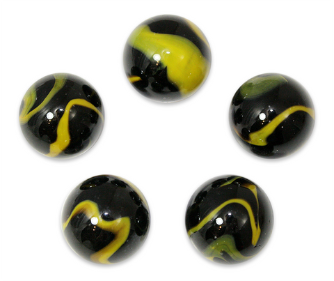 "1 Inch ""Poison Frog"" Marble 25mm Shooters - Pack of 5 w/Stands"
