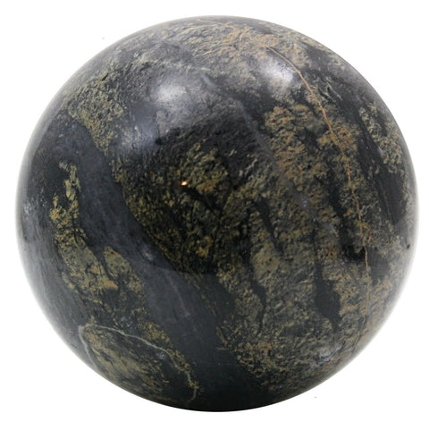 Polished Pink & Gray Marble Sphere 4 Inches Diameter w/Info Card - Sculpted Orb