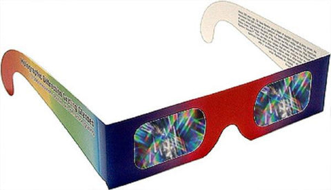 30-3D Fireworks Glasses in Rainbow Frames- Diffraction Grating Lenses w  Educational Info