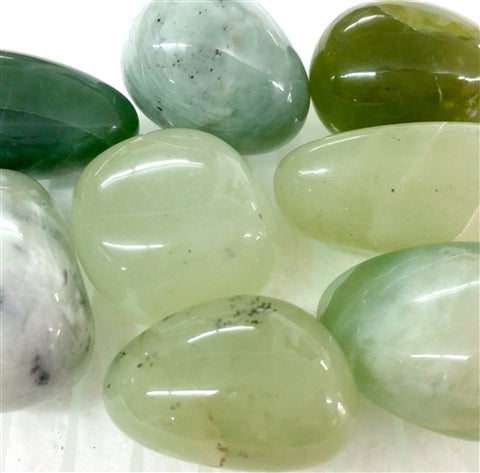 Jade Tumbled Polished Crystal Green Stones, 0.5-1 Inch w Info Card - Pack of 5