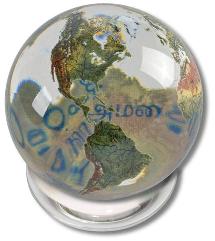 Peace Orbacle - 2 Inch Clear Crystal Earth Sphere 37 Languages with Stand