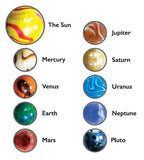 Solar System Glass Marble Set by Mega Fun