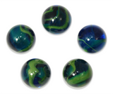 "7/8-Inch ""Sea Turtle"" Marble 22mm Shooters - Pack of 5 w/Stands"