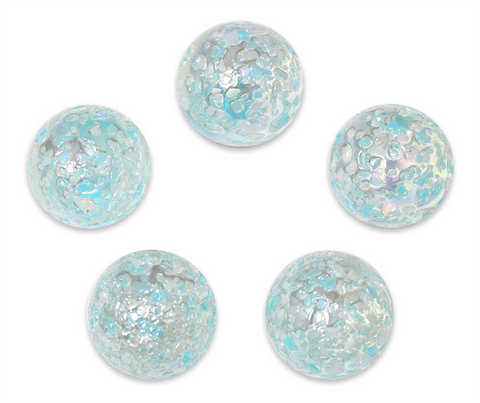 "7/8-Inch ""Snowflake"" Marble 22mm Shooters - Pack of 5 w/Stands"