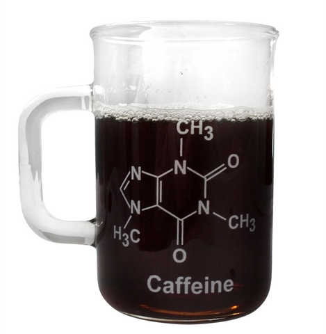 400mL Graduated Glass Beaker Mug w/Handle - Caffeine Molecule Glass Mug