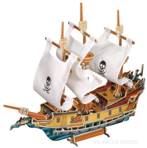3D Wooden Pirate Ship Model w/White Cloth Sails