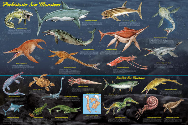 prehistoric sea monsters laminated poster 24x36 online science mall
