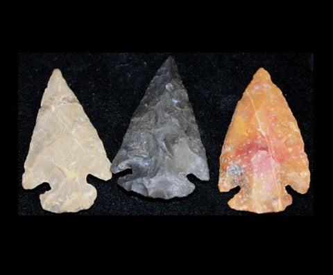 Three Agate/Jasper Replica Arrowhead Hand-Chipped 1.5-2 Inch w Info Card