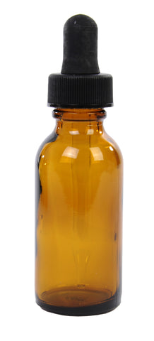 Amber Boston Round Glass Bottle w/dropper 1 oz ea.
