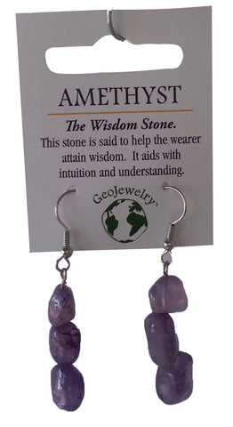 Natural Gemstone Amethyst Triple Nugget Earrings