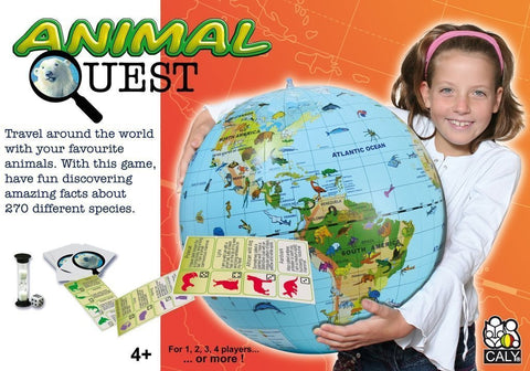 Animal Quest Educational Game w/ 20 inch Inflatable World Globe