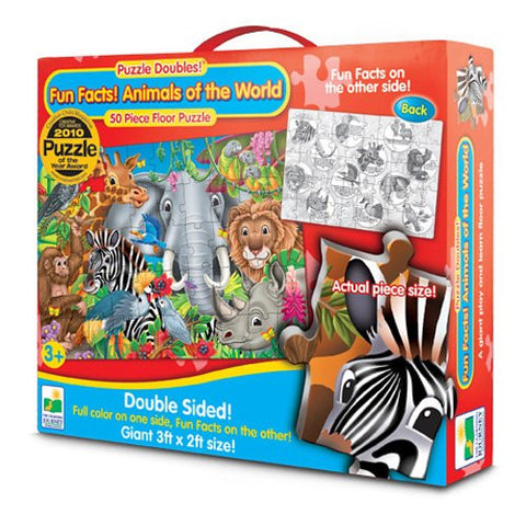 Puzzle Doubles-Fun Facts-Animals Of The World-50 Pc 2 Sided Puzzle