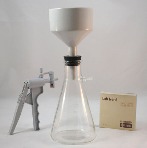 Filter Setup w/Pump, 1000mL Glass Flask, 125mm Buchner Funnel, Stopper and Filter Paper