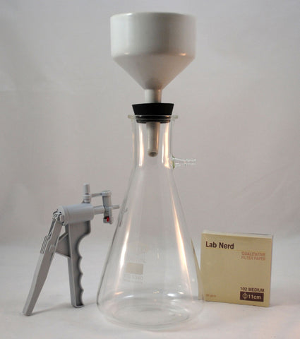 Filter Setup w/Pump, 2000mL Glass Flask, 125mm Buchner Funnel, Stopper and Filter Paper
