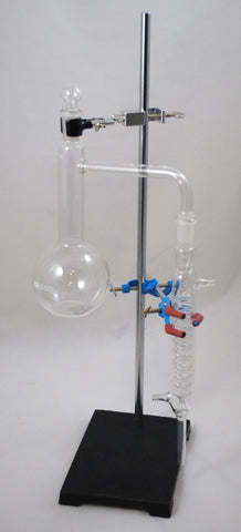 Distillation Apparatus with Stand Clamps 19/38 fittings:Borosilicate Glass Flask