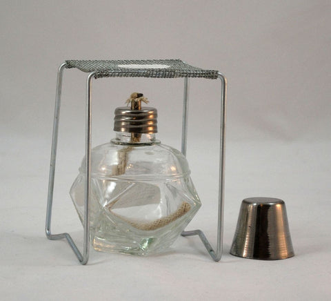 Angular Glass Alcohol Burner  w/ Wire Stand w Ceramic Center