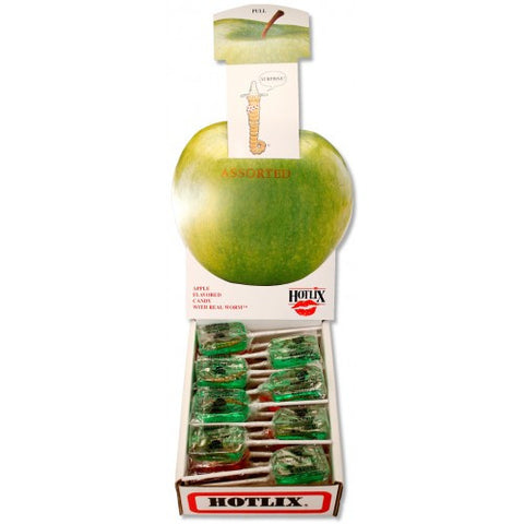 Apple Hotlix Worm Sucker - Box of 36 Real Insect Bug Candy Lollipops