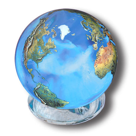 Aqua Crystal Earth Sphere & Stand - 35mm w/ Natural Earth Continents