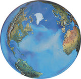 Peace Orbacle - 2 Inch Aqua Crystal Earth Sphere 37 Languages with Stand