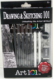 Drawing and Sketching 101 Kit - Pencils, Tortillions, Guide and more