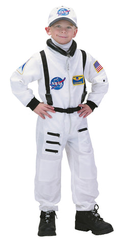 Jr. Astronaut White Suit with Embroidered Cap - Child Size 6-8