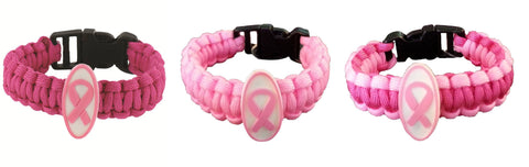 Breast Cancer Awareness Pink Power Paracord Bracelet One Size - Set of 3