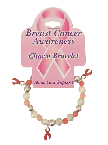 Breast Cancer Awareness Charm Bracelet One Size - Pink