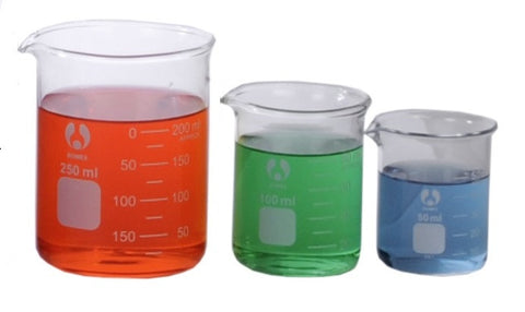 3  Sizes Glass Beakers 50mL - 100 - 250mL Set Graduated