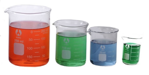 4 Sizes Glass Beakers 25mL-250mL Set Graduated