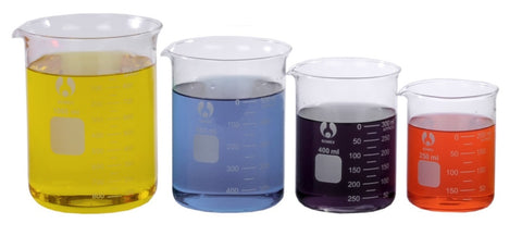 4 Glass Beaker Set 250/400/600/1000mL Larger Sizes
