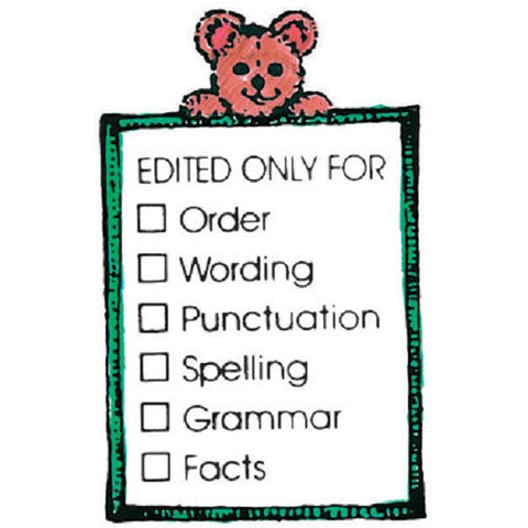 Edited Only For- Bear w/List Rubber Stamper: Teachers Aid