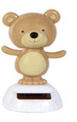 Solar Powered Dancing Beige Bear - Head and Arms Sway in Sunlight