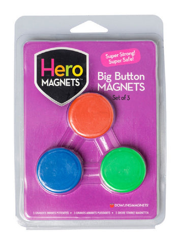 Hero Magnets Big Button - Magnetic Set of 3 with Assorted Colors