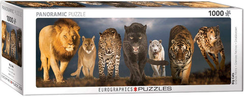 "Big Cats Panoramic 1,000 Piece Puzzle 13"" x 39"""