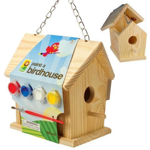 Paint A Birdhouse Pine Wood  Sturdy with Chain
