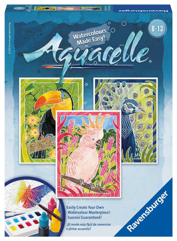 Aquarelle 3  WaterColor Paintings Arts & Crafts Kit by Ravensburger - EXOTIC BIRDS