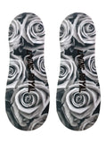 Black and White Roses No-Show Liner Socks OSFM by Living Royal